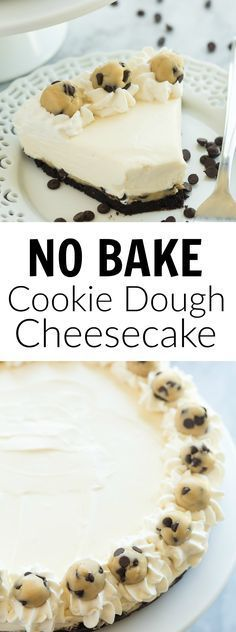 We loved this NO BAKE Cookie Dough Cheesecake — it's made with edible cookie., Desserts, We loved this NO BAKE Cookie Dough Cheesecake — it's made with edible cookie dough and an Oreo crust and is an extra special dessert for the holid. Desserts Keto, Mini Desserts, No Bake Desserts, Easy Desserts, Delicious Desserts, Dessert Recipes, Yummy Food, Homemade Desserts, Christmas Desserts