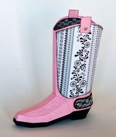 Paper Creations by Kristin: September 2013 cowboy girl boot 3d box
