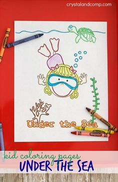 Free printable summer coloring kid pages: Under the Sea theme. Adorable and free and fun!!