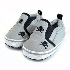 3 Skull Black & Gray Slip On Shoes S 3-6m