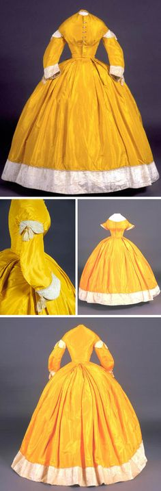 Dress with day & evening bodices, 1861. Hand-stitched and machine-stitched yellow silk taffeta with cotton lining and cashmere or mohair plush & silk cording. Caroline Bolles Cleveland wore this dress to President Lincoln's inaugural ball in 1861. Connecticut Historical Society