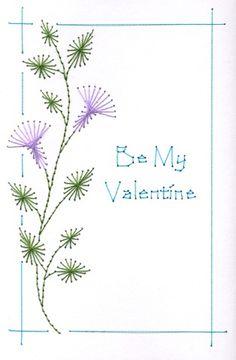 My pretty Valentine Flower Paper Embroidery Tutorial, Embroidery Cards, Embroidery Stitches, Embroidery Patterns, Hand Embroidery, Stitching On Paper, String Art Patterns, Sewing Cards, Card Patterns