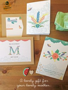 Personalized Mother's Day Gift Set in a Muslin Bag (Includes 12 Recipe Cards, Notebook, Art Print, 6 Pencils, Sharpener and Eraser). #earmarksocialgoods #mothersday