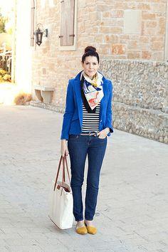 blue blazer + strips + scarf