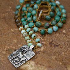 Unicorn crochet necklace - magical boho beachy rustic silver toned Unicorn 'believe' pendant, spiritual and pure
