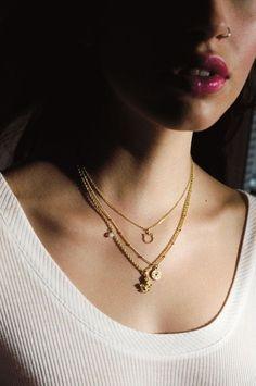 multi-necklace look