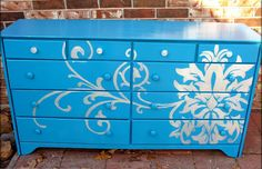 DIY Stenciled dresser - Absolutely love this!!!!
