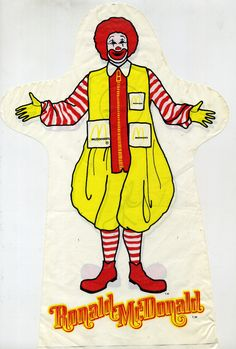 """Ronald McDonald Puppet.  I remember these from when I was a kid.  A """"puppet"""" made from a thin plastic material.  They were the toy in a Happy Meal.  Made my hand sweat!"""