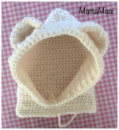 crochet bear hat, crochet hat with earbuds , Crochet Bear Hat, Crochet Hood, Knit Crochet, Brei Baby, Knitting Patterns, Crochet Patterns, Waffle Stitch, Baby Kind, Crochet For Kids