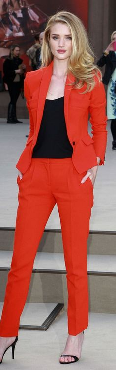 Rosie Huntington-Whiteley's red pants suit, black top, and black sandals that she wore in London on February 18, 2013.