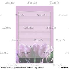 This design features a bunch of purple tulips on a multi-textured transparent graphic background. Use the customize it button to subtly change the background color behind the flowers. The lines are optional - simply clear them for unlined paper.