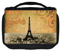 Vintage Paris Design TM Small Travel Sized Hanging Cosmetic/Toiletry Case with 3 Compartments and Detachable Hanger-Made in the U.S.A. ** Quickly view this special  product, click the image(This is an affiliate link and I receive a commission for the sales) : Travel cosmetic bag