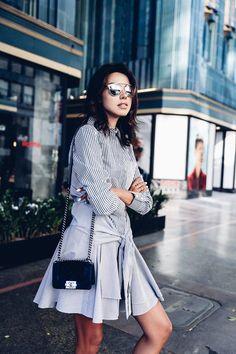 Stripe black and white  shirtdress   Chanel small Boy bag in blue velvet