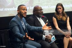 DeVon Franklin, Bishop T.D. Jakes and Jennifer Garner speak during a Q&A session after the premiere of 'Miracles From Heaven' on February 21, 2016 in Dallas, Texas.
