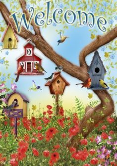 Toland Home Garden 112097 Poppies and Birdhouses Garden Flag by Toland Home Garden. $9.99. 600 denier polyester. Heat sublimated to permanently dye fabric. Machine washable; UV, mildew, and fade resistant. 12-1/2 by 18-inch. Licensed art. This Poppies and Birdhouses Garden Flag will make a statement hanging from your front porch or in your garden this season. This backyard scene features multiple birdhouses and birds all enjoying the nice Summer warmth, artwork by Gail...