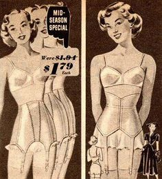 The 1950 spring edition of Sears catalog shows two beautiful girdle designs: Jr. Girdles, 3 lengths (on the left) and Waist Whittler (on the right); Mid season special $1.79.