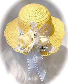 Girl's Easter Bonnet Lemon & White Tea Party by Marcellefinery Girls Tea Party, Tea Party Hats, Hat Decoration, Silk Floral Arrangements, Pamela, Flower Hats, Hat Shop, Hat Hairstyles, Derby Hats