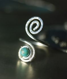 Chinese Turquoise Argentium Silver Spiral Wirework Toe Ring, Nickel Free - by Moss & Mist Jewelry