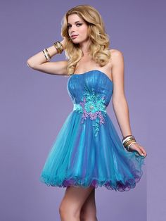 Designer Strapless Royal Blue Tulle Overlay Wedding Guest Gown of Floral Embellishment