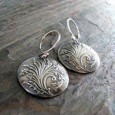 Flourish, Artisan PMC Jewelry, Fine and Sterling Silver Handmade Earrings, Vintage Inspired