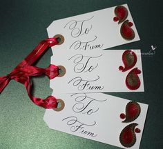 Handmade Red and Gold Paisley Christmas or Holiday gift tags or Any occasion gift tags with paper quilling