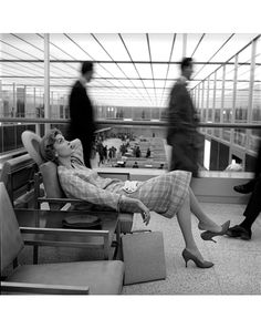 Idlewild Airport 1957. The model looks bored - some things never change in passenger lounges.