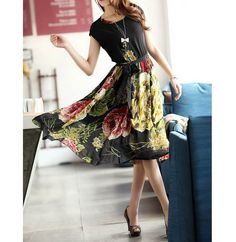 Cap Sleeves Scoop Neck Strappy Beam Waist Flowers Pattern Ruffles Ladylike Women's DressPrint Dresses | RoseGal.com