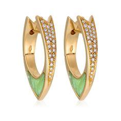 Stefan Hafner Ala 18K Yellow Gold Pendant Earrings With Green Opal & Diamonds featured in vente-privee.com
