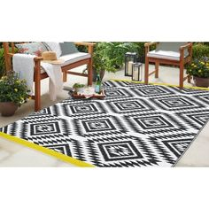 5' x 8' Indoor Outdoor Moroccan Yellow Band Reversible Plastic Rug #ad Rug Store, Yellow Pattern, Cool Rugs, Indoor Outdoor Rugs, Rv Living, Rugs Online, Online Home Decor Stores, Colorful Rugs, Moroccan