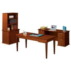 High Point Affirm Collection Grouping by High Point. $2995.00. Affirm Collection Grouping includes Table Desk, Double Pedestal Credenza and Lateral File with Bookcase Hutch. Offered in two finishes this collection is designed to fit beautifully in tight spaces.The decoractive inlay panels, tapered legs and shaped edges of the Table Desk will coordinate beautifully with any decor. DoublePedestal Credenza contains two letter/legal file drawers per pedestal. Later... Home Office Desks, Home Office Furniture, Kitchen Furniture, Lateral File, Table Desk, High Point, Pedestal, Credenza, Home Kitchens