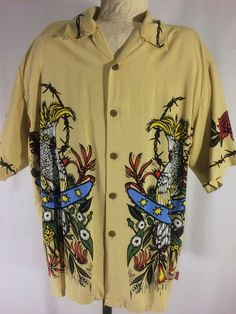 RARE Mambo Loud Shirts Kookaburra/Cockatoos/Gecko Men's Size M - EUC #Mambo #Hawaiianshirts #surfers
