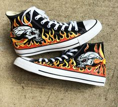 Skulls Engulfed in Flames Hand Painted Black Hi Top Converse Sneakers, Flaming Fiery Skull Shoes, Gift for Fire Men, Bitchin Gift for Guys by DreaminBohemian on Etsy Black Hi Top Converse, Red Chucks, Converse Chuck Taylor High, Painted Vans, Painted Sneakers, Painted Shoes, Hand Painted, Converse Sneakers, Vans Shoes