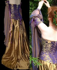 Rossetti Costumes and Bridal Gowns - Pre-Raphaelite / Medieval /William Morris wedding corset