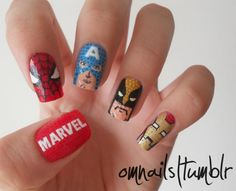 Avengers Nail Art - When Geeks Wed