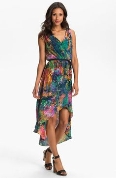 Suzi Chin for Maggy Boutique Print High/Low Silk Dress | Nordstrom
