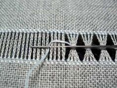 Drawn Thread Embroidery: Bunching threads together with a chain loop: