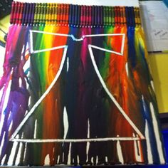 Melted crayon art I did for a directors gift of Joseph and the Amazing Technicolor Dreamcoat.