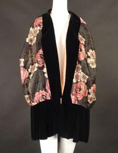 1920s Metallic Brocade Floral Evening Wrap