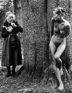 Renowned photographer Imogene Cunningham in an staged photograph in Yosemite in 1974 with model, Twinka Thiebaud, daughter of California painter, Wayne Theibaud. This photo was taken by Judy Dater who was [per Twinka Thiebaud] the instructor at the Yosemite workshop. Twinka was photographed at Dater's request with Cunningham to produce this legendary image during a class on nude photography. Cunningham, an invited guest of Judy Dater, also liked to shoot her nudes in natural settings.