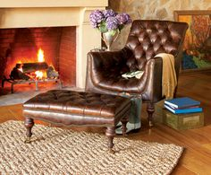 Fireplace Chair U0026 Ottoman   Leather