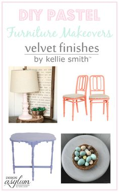 Take a look at these Pastel DIY Furniture Makeovers using Velvet Finishes Ethereal, Stately, Exotic, + more! Perfect spring furniture looks.