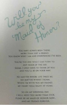 Awesome way to ask your friend to be the Maid of Honor! And how sweet! I loved…