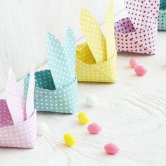 fertige Bastelvorlage Origami Osterhasen Korb