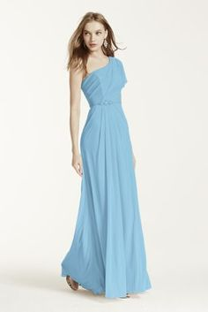 A stunning and romantic look, your bridesmaids will love to wear again! Asymmetrical neckline and one shoulder bodice features cold shoulder detail. Adorned with beaded detail at waist. Floor length mesh skirt with side slit is ultra-feminine and chic. Fully lined. Imported polyester. Back zip. Dry clean only. Also available in Extra Length as Style 4XLF15519.