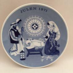 "Porsgrund Norway 1971 Julen Christmas Plate Blueware Child is Born Manger 7"" VTG #Porsgrund"