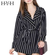 68fb768763 HYH HAOYIHUI 2016 Brand New Summer Womens Lapel Neck Belted Long Sleeve  Contrasr Color Striped Preppy. Work PlaysuitsWomen s RompersROMPERS ...