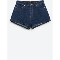 Zara High Waist Denim Shorts ($30) ❤ liked on Polyvore featuring shorts, bottoms, short, navy blue, high-waisted denim shorts, high-rise shorts, high waisted short shorts, high waisted jean shorts and short shorts