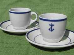 vintage blue anchor marina / yacht club china, coffee cups and saucers