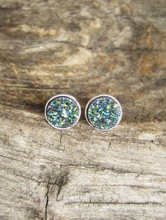 Tiny Green Druzy Studs Titanium Drusy Quartz Sterling Silver Bezel Set Earrings Rhodium Plated