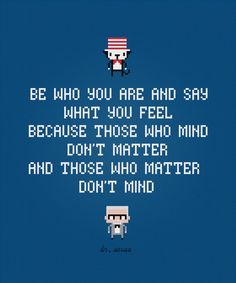 Be who you are - Dr. Seuss Quote - Digital PDF Cross Stitch Pattern